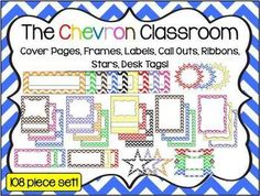 The Chevron Classroom 108 Piece Set! Chevron graphics include: 3 cover page designs, 2 frame designs, call outs, desk tags, labels, ribbons, squares and stars!  * You can add your own clip art and text to personalize each graphic. * Graphics come in a zipped file with 108 png images and 2 pdf files. * Easy to download, personalize and print! ~By Kim Miller