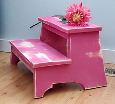 diy furniture, step stools, stepstool, foot stools, pink, vintage kids, bathroom, ana white, diy projects