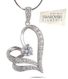 18K White Gold Swaorvski Elements Floating Heart Necklace - Save 81% only $18