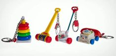 If you were a 70s or 80s baby, you probably had at least one of these classic Fisher Price Toys.  And if you're a parent, you're probably wondering where the hell toys went wrong…but that's for another post. The beloved toys you played with as a kid, including Rock-a-Stack, Melody Push Chime, Corn Popper, and Chatter Phone, have found new life in fully functional key chain size. They actually work just like the original versions, but in a miniature pocket sizes, so giant kids can be discreet ...