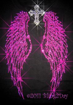 Fuchsia Hot Pink Angel Wings with Silver Cross  by BlingPalace