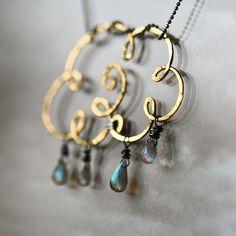 Gold Cloud - Brass Wire and Labradorite Teardrops Pendant.