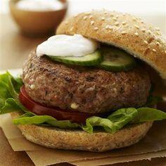 Greek Turkey Burgers with Spiced Yogurt Sauce via McCormick
