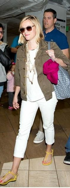 Reese Witherspoon in Balenciaga studded yellow flat sandals...LOVE