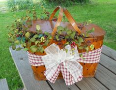 Cute decorated picnic basket.