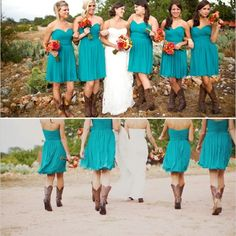 My bridesmaids with cowboy boots