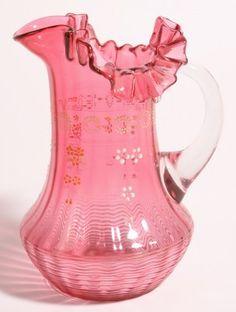Cranberry Art Glass Water Pitcher