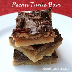 Pecan Turtle Bars are made with a buttery shortbread crust, filled with a toffee caramel and pecans and then topped with chocolate.  » Recipes, Food and Cooking  #pecanturtlebars #dessertrecipes