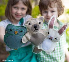 sewing toys, felt woodland, craft, hand puppets, felt puppet, woodland animals, diy, felt animals, kid
