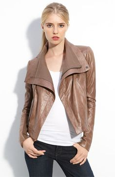 Loving this caramel nude leather jacket