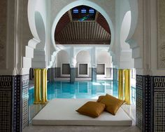 """La Mamounia—Marrakech, Morocco    French design star Jacques Garcia has breathed new life into this fabled Marrakech retreat, deemed """"the most lovely spot in the whole world"""" by Sir Winston Churchill."""