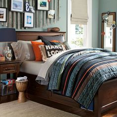 Tween or teen boy bedroom blue, gray, orange - striped quilt looks easy to make bedding, idea, color, pbteen, quilts, maddox quilt, pottery barn, boy room, teen boy bedrooms