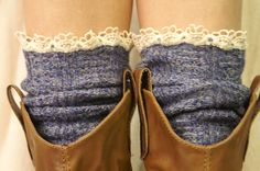 Boot Socks with Lace. I saw these on a girl the other day and my eyes jumped right out of my head. These boot socks are sexy, edgy, and classy. The lace is mysterious. I found these PERFECT boot socks on Etsy. She has available colors that will complement your boots, while remaining versatile for multiple outfits!