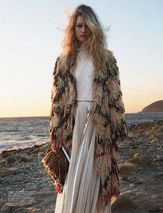 bohemina, long shag coat, maxi dress