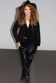 B! ...slouchy leather pants.
