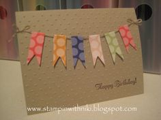 washi tape birthday cards, card banner, birthdays, paper, barbie, homemade cards, handmade crafts, banner card, banners