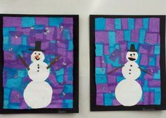winter art lesson   Snowman in Blue and Purple- winter art project for elementary