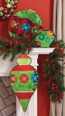 oversize Christmas Ornaments for the Mantle