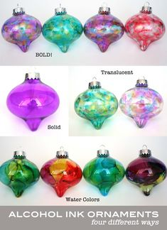 Homemade Water Color Alcohol Ink Ornaments | handmade ornaments no. 14 - bystephanielynn
