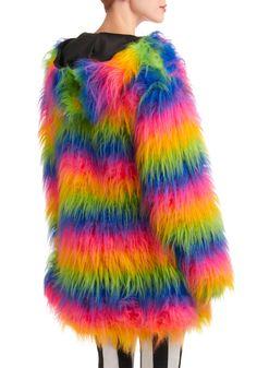 rainbow coat, fur, neon coat, color coat