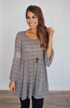 Dottie Couture Boutique - Bell Sleeve Tunic Dress, $42.00 (http://www.dottiecouture.com/bell-sleeve-tunic-dress/)