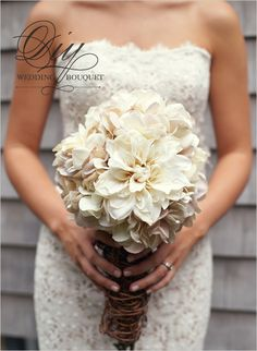 close of up dress and bouquet bridal bouquets, silk flowers, wedding bouquets, the dress, rustic weddings, white bouquets, bride, diy wedding, lace dresses