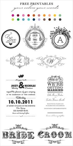 Free printables for the wedding day