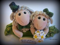 Wedding Cake Topper, Custom Two Sheep in a Pod Polymer Clay Wedding/Anniversary Keepsake. via Etsy.