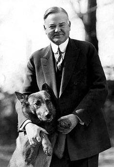 Herbert Hoover and his dog King Tut (Belgian Shepherd).