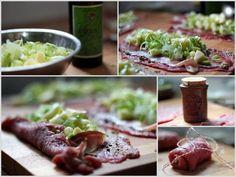 Rinderrouladen mit in Verjus mariniertem Lauch und Apfel, Tiroler Schinkenspeck und Monschauer Senf mit grünem Pfeffer und à l'ancienne