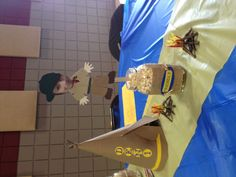 Table decorations for Blue & Gold banquet