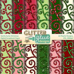 Swirly Curly Christmas Scrapbook Paper Clipart - December Holiday Fun TPT Seller #christmas #clipart #winter #teacher #tpt #teacherspayteachers #graphics