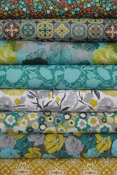 fabrics - yellow teal and grey
