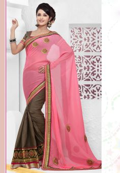 Pink and Dusty Brown Faux Georgette and Cotton Saree with Blouse @ $100.38