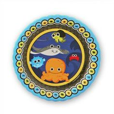 Under The Sea Critters - Dessert Plates - 8 Qty/Pack - Baby Shower Tableware.  Use coupon code: modern11 and save 11%!!!