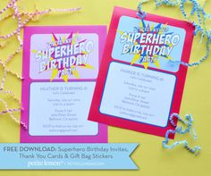 Superhero Birthday Freebies: Invites, Thank You cards and Gift Bag stickers from Petite Lemon