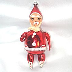 Italy Blown Glass Santa Claus Christmas Ornament Annealed Arms Legs