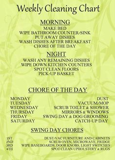 Great Cleaning Chart/Schedule ~ Seems really doable!