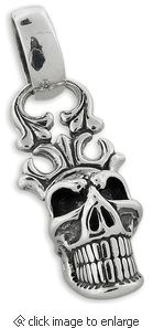 Sterling Silver Crown Skull Pendant
