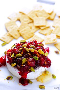 Cranberry PIstachio Baked Brie -- this easy 20-minute appetizer is perfect for the holidays!   gimmesomeoven.com