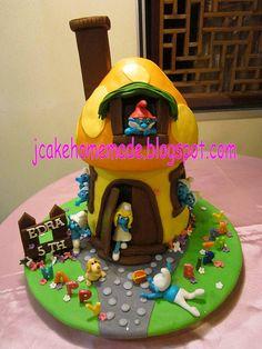 Smurfs cottage birthday cake