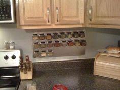 DIY magnetic spice rack.