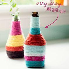 yarn wrapped bottle vases