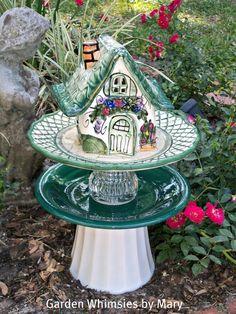 Blue Sky Ceramic Mini Cottage Garden Totem by GardenWhimsiesByMary