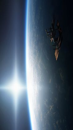 ISS - passing across the terminator into sunset.