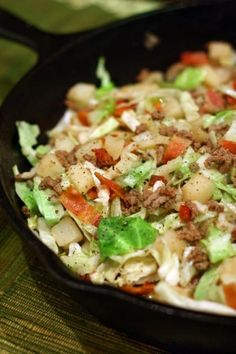 Irish Skillet Dinner - ground beef, potatoes, bacon, cabbage & onions with a sweet-tangy sauce