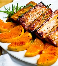 "Citrus-Tamari Tofu Steaks with Warm Satsumas & Rosemary - Tofu and other soy proteins are nature's ""complete"" protein and has an FDA approved health claim:  25 g soy protein per day can help maintain healthy serum cholesterol and LDL levels...plus this just looks amazingly yummy. chocolates, citrustamari tofu, food, steaks, chocolate trifle, recip, warm satsuma, satsuma rosemari, tofu steak"