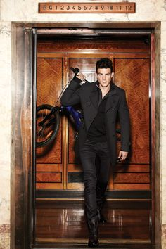 ♂ Masculine & elegance Men in black with bicycle Fashion Style Calibre autumn