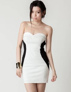 White & Black Contrast Strapless Sweetheart Dress #partydress