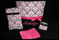 Personalized+Baby+Girl+Diaper+Bag+With+Wipes+Case+by+robrenee,+$64.99